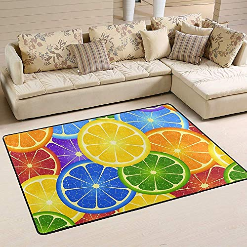 Fun-World Area Rug Tapis Orange Arc-en-Ciel Tapis coloré Moderne pour Salon Chambre à Coucher Tapis de Chambre de bébé Lavable en Machine,150X100Cm