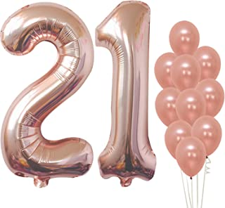 KatchOn Rose Gold 21 Birthday Balloons – Large, Pack of 12 | 21st Birthday Balloons Party Decorations Supplies | Number 2 and 1 Rose Gold Balloons | foil Mylar and Latex Balloons | 21 Year Old