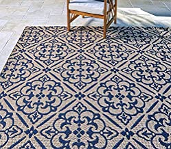 Gertmenian Neptune Outdoor Rug Classic Luxury Patio Carpet, 8' x 10' Large, Allover Floral Navy Blue