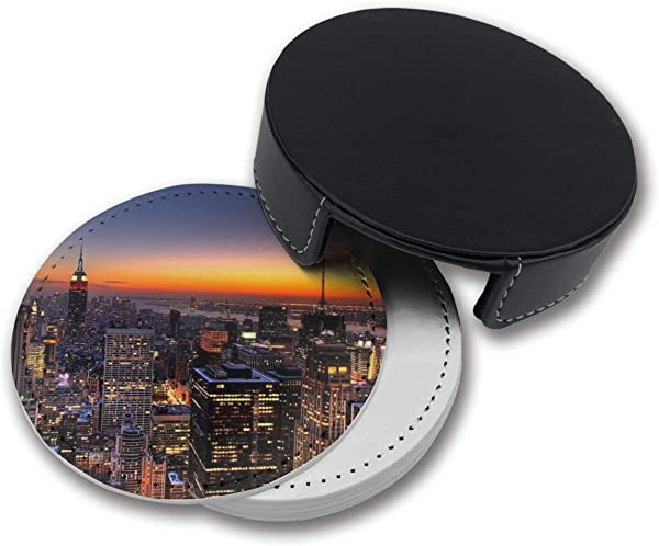 RZ GMSC New York City Coasters For Drinks PU Leather Coasters With Holder Suitable For Kinds Of Mugs And Cups Protect Furniture From Damage 6PCS