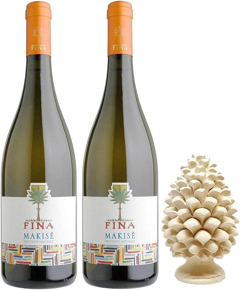 Sicilia bedda - cantine fina - 2 bottiglie di vino bianco, piu` pigna siciliana in ceramica, 12 cm
