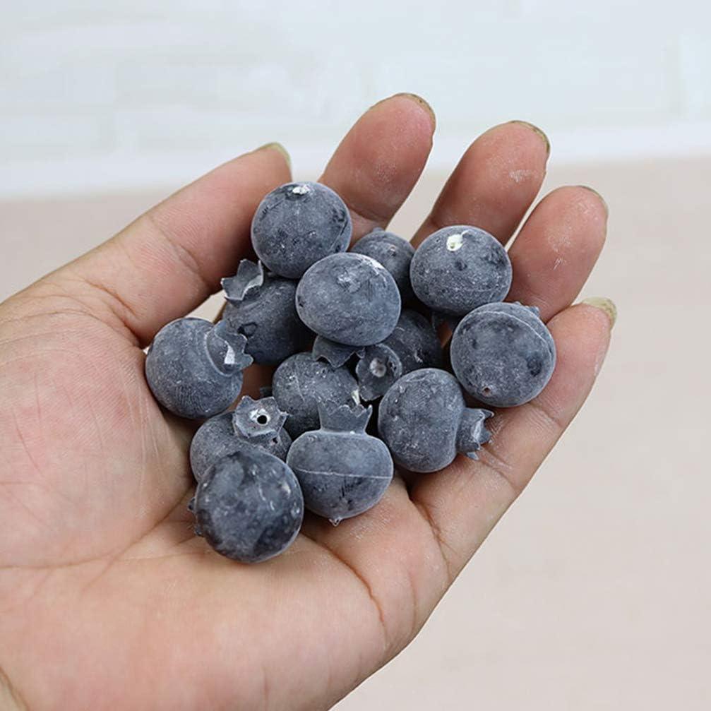 VOSAREA 20pcs Artificial Blueberry Foam Fruit Model Decorative Photography Fruit Ornaments Lifelike Fruit for Home Shop 1.5cm