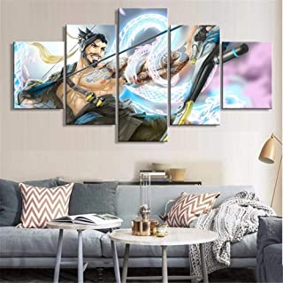 Artwcm Overwatch Hanzo Poster 5PCS Oil Paintings Modern Canvas Prints Artwork Printed on Canvas Wall Art for Home Office Decorations-373 (Unframed)
