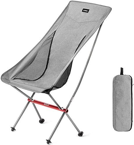 RGFITNESS Chaise de Camping portative Se Pliante, Chaise Pliante en Aluminium légère Totale de Maquillage de Cadre en Aluminium avec Le Repose-Pieds de Sac de Rangement de Table latérale, appuis,gris