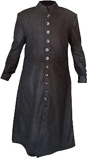 Men's The Matrix Series Neo Keanu Reeves Black Woolen Trench Coat 2XS to 3XL