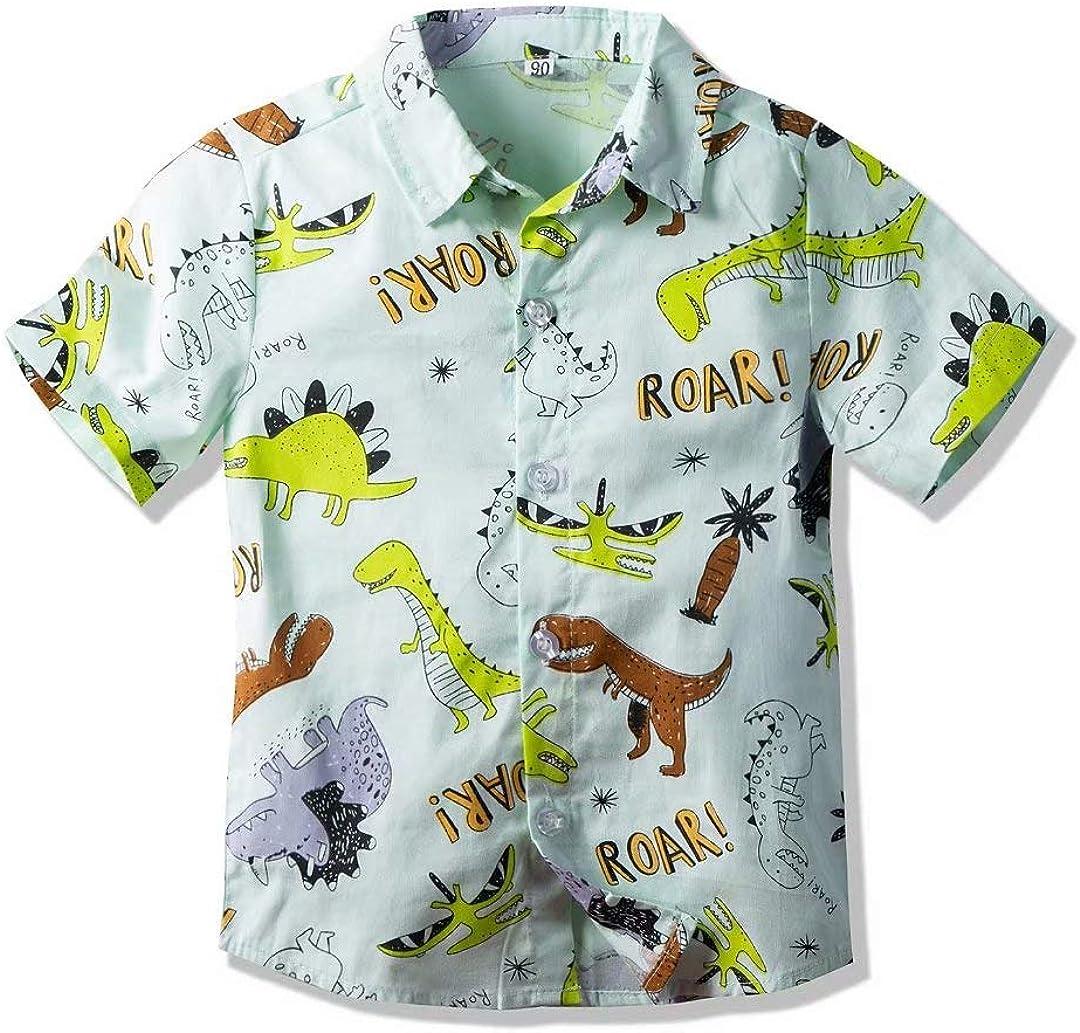 Uinolo Baby Boy's Hawaiian Short Sleeve Button Down Shirt Cute Pattern Print for Beach Holiday 1-7 Years