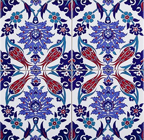 Cerames Makbule - Coloridos azulejos turcos, 1 paquete - 0.48m2 (12 piezas), azulejos de cerámica Iznik con patrón, 20x20, ideal para la cocina o el baño.