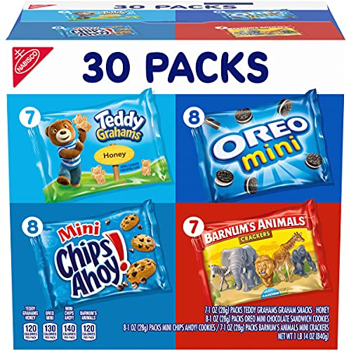 Nabisco Team Favorites Variety Pack, OREO Mini, CHIPS AHOY Mini, Teddy Grahams Honey & Barnum's Animal Crackers, 30 Snack Packs