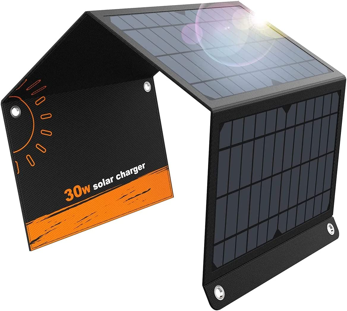 Solar Charger 30W 2USB and 1DC Ports Solar Panels with 3 Foldable Panel Upgrade Has High Conversion(5V/5A Max) Rate Portable Solar Phone Charger Compatible with iPhone Samsung More USB and DC Devices