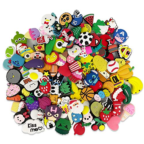 AUKUZI 100 Pcs Shoe Charms for Kids  PVC Charms for Shoes Bracelet Wristband Decorations  Party Supplies Packs  Easter Eggs Pinata Fillers  Christmas Birthday Kids Gift for Girls Boys