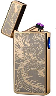 lcfun Dual Arc Plasma Lighter USB Rechargeable Windproof Flameless Butane Free Electric Lighter Candle Lighter (Gold Dragon)