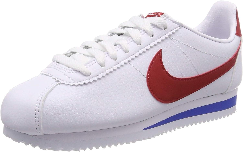 Nike Men's Classic Cortez Leather, White Varsity RED, 4.5 M US