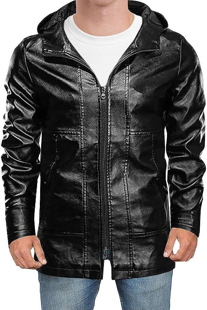 LONGBIDA Men's Faux Motorcycle Black Leather Jacket Lightweight Coat with Hood