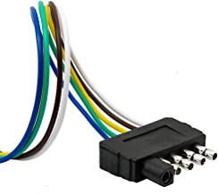 TIROL 5-Way Flat Trailer Wire Harness Extension Connector Plug with 36 inch Cable Length End Connector