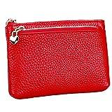 Mini Portafoglio in Pelle Piccolo Portamonete Borsa con Protezione RFID 3 Scomparto Capiente Porta Banconote e Tessere Pochette Pelle Rouge