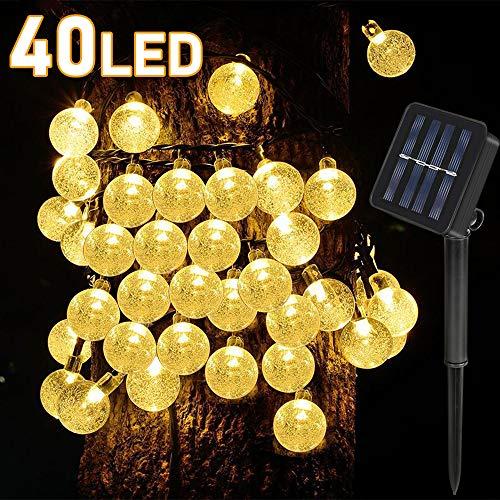 40LED Solar Garten Lichterkette Kristall, Solar Lichterkette Außen Warmweiß für Garten, Bäume, Terrasse, Weihnachten, Hochzeiten, Partys, Innen und außen