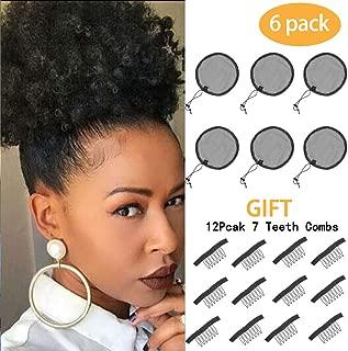 6pcs Black Ponytail Net Wig Caps For Making Guleless Hairnet Hair Wig Making Tools Bun Maker Hair Net For Women (S/Round(6Pcs))