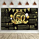 50th Birthday Black Gold Party Decoration Extra Large Fabric Black Gold Sign Poster 50th Anniversary Backdrop Banner 50th Birthday Party Background for 50th Birthday Party Supplies Photography