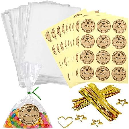 100pcs Petit Sac Sachet Bonbon Pochette Transparents avec 100 Merci Étiquettes et Liens,Sachet d'emballage Cellophane pour Biscuit Bonbons Perles Bijoux Cadeau 10 * 15 cm (100pcs)