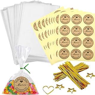 100pcs Petit Sac Sachet Bonbon Pochette Transparents avec 100 Merci Étiquettes et Liens,Sachet d'emballage Cellophane pour...