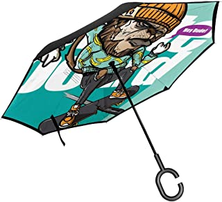 FGN Windproof Double Layer Car Reverse Umbrella Printed Style of Cool Monkey Riding Skateboard B Umbrellas for Women with UV Protection
