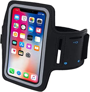 Running Armband, DELFINO Black Sports Arm Band Case Holder for Huawei Xiaomi iPhone, Universal 5.5 Inch Resistant Armband ...