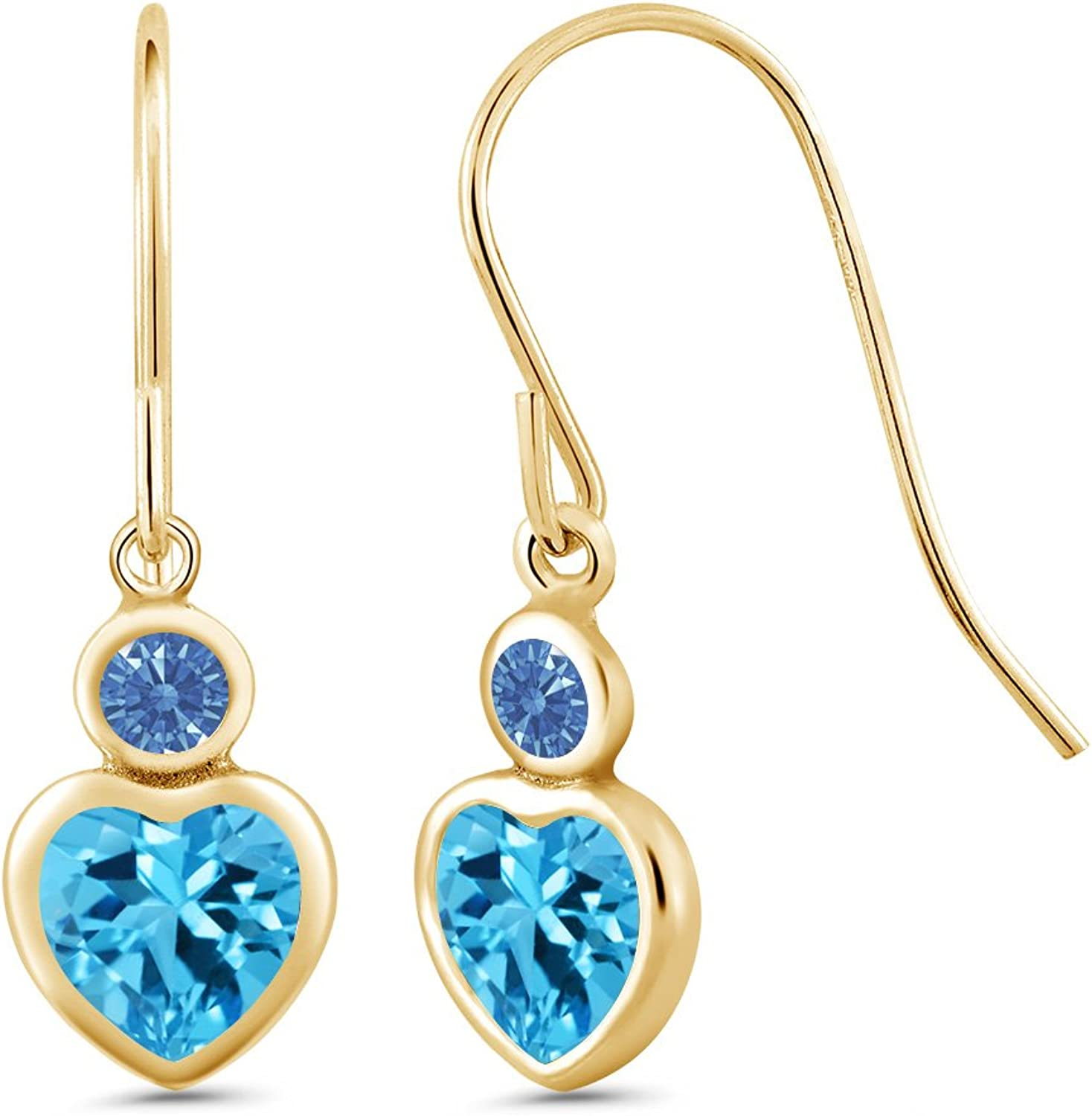 Carlo white Swiss bluee 14K Yellow gold Earrings Made With Swarovski Zirconia