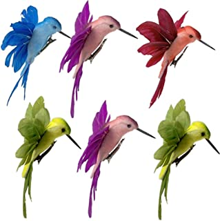 Hummingbird Clip on Ornaments -Assorted Colored Birds with Attached Clip - Craft Birds Set of 6 Humming Birds Decorations on Clips- Great for DIY Wreaths Centerpieces Home Décor