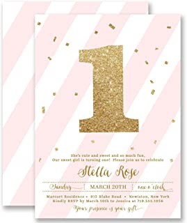 Girls 1st Birthday Invitations Blush Pink Striped Gold Glitter Look Any Age Personalized Boutique Invites with Envelopes - Stella style