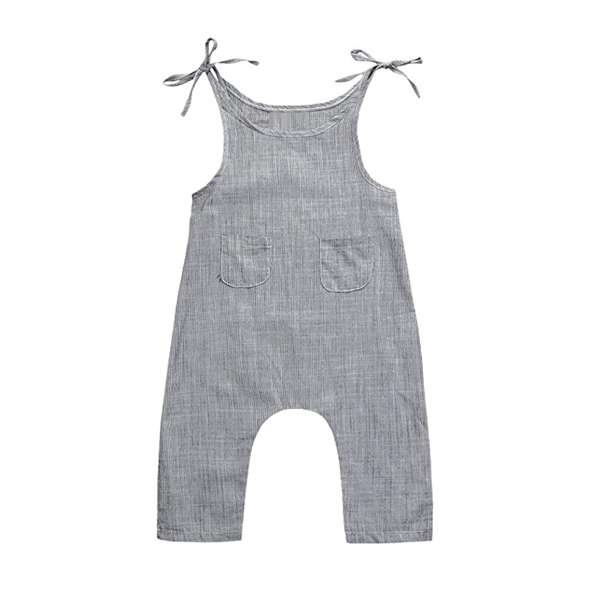 FEITONG Toddler Infant Baby Boys Girls Flax Sleeveless Braces Romper