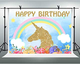FHZON 10x7ft Unicorn Picture Backdrop Sky Clouds Rainbow Flower Background Happy Birthday Theme Party Wallpaper Photo Booth Props LXFH421