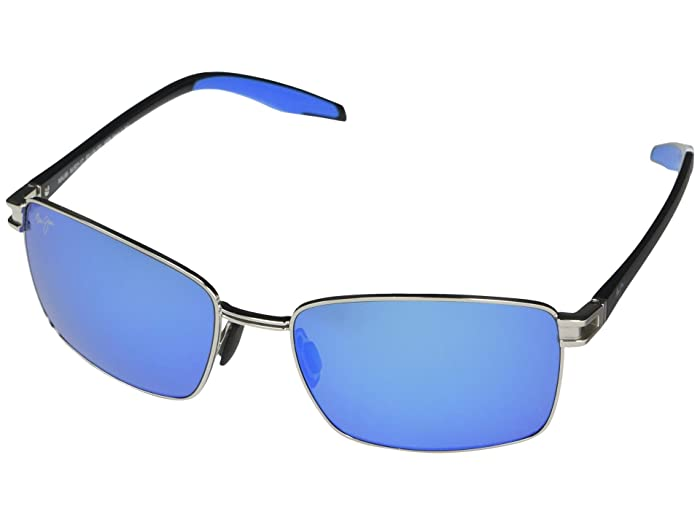 Maui Jim  Cove Park (Silver with Black Temples and Brown Rubber) Fashion Sunglasses