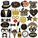 HOWAF 2021 Neujahr Fotorequisiten Fotoaccessoires (28Pcs), Silvester Photo Booth Props Verkleidung Mitbringsel Maske Party Zubehör für Erwachsene Kinder Silvester Deko 2021 Silvester Party Dekoration
