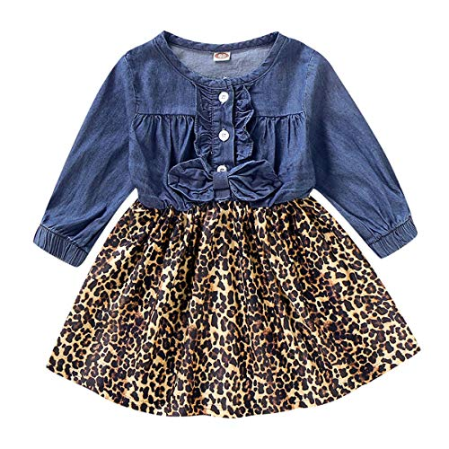 Tianhaik Peuter Kids Meisje Swing Jurk Lente Jeans Luipaard Print Jurk Baby Lange Mouw Feestjurk