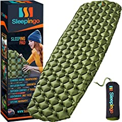 "2"" THICK SLEEP SUPPORT! YOU WILL LOVE THIS SLEEPING PAD! Want to sleep comfortably anywhere? No need to suffer with a cheap flimsy short outdoor sleeping pad! This quality portable camping mat pad is perfect. Super sturdy and extremely comfortable. G..."