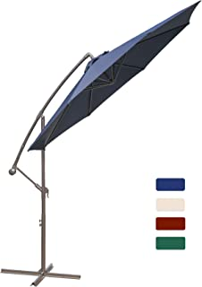 HASLE OUTFITTERS Offset Patio Umbrella 10FT Cantilever Umbrella Outdoor Market Umbrella Hanging Umbrella with Cross Base Navy