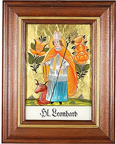 Hinterglaswerkstätten - Hinterglasbild/Patronatsbild HL. Leonhard mit braun gebeizten Holzrahmen, handbemalt mit Legende des Heiligen auf der Bildrückseite, ca. B: 12,5 x H: 16 cm