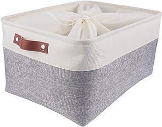 SOCOHOME Boîte de Rangement en Tissu, Panier de Rangement Grande Capacité avec Cordon de Serrage (Gris/Blanc, Pliable)