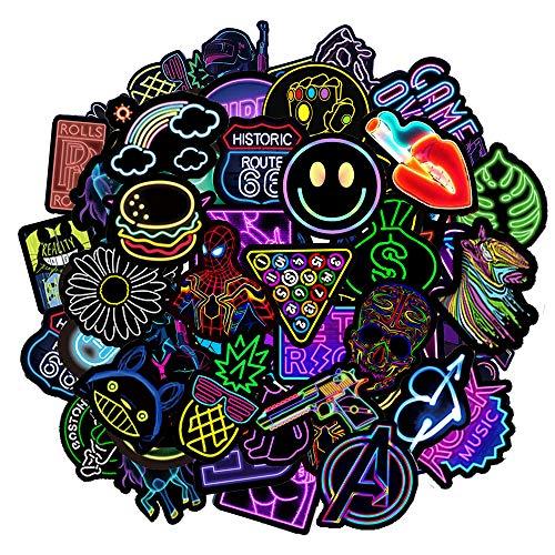 Jackify Aufkleber Pack 50-pcs, Neon Graffiti Stickers Decals, Vinyl Sticker Geschenke Spielzeug für Laptop, Gepäck, Skateboard, Sticker bomb