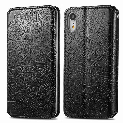 Trugox Funda Cartera para iPhone XR de Piel con Tapa Tarjetero Soporte Plegable Antigolpes Flor Cover Case Carcasa Cuero para Apple iPhone XR - TRSDA140093 Negro