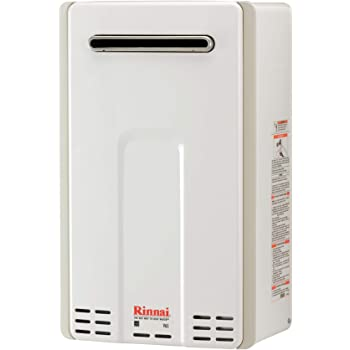Rinnai V65EN Outdoor Tankless Hot Water Heater, V65EN-Natural Gas/ 6.3 GPM, Large, White