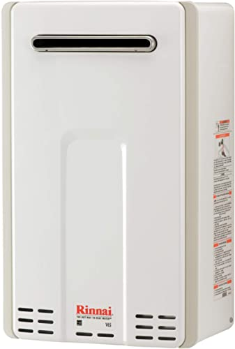 Rinnai V65EN V65EN-Natural Gas/ 6.3 GPM Outdoor Tankless Hot Water Heater, Large, White