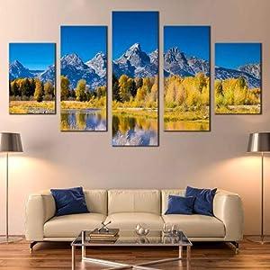5 piece wall art, 5-piece family decoration painting canvas pictures wall art framed 5 piece canvas wall art Blue Sky Ocean Mountains Golden Aspen Trees modern canvas art wall decor (60''Wx32''H)