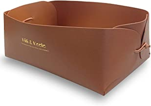 Storage Bins for Desktop, Leather Baskets for Storage, Closet Dresser Organizer Basket Bins, Perfect for Socks, Ties, Scarves