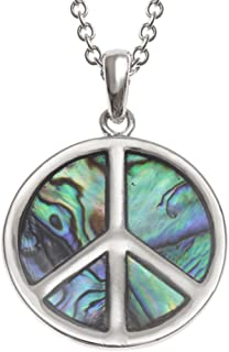 """Liavy's Peace Sign Charm Pendant Fashionable Necklace - Abalone Paua Shell - 18"""" Link Style Chain - Unique Gift and Souvenir"""