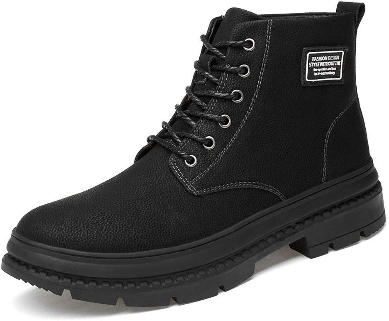 ZHRUI Black Wild Leather Martin Boots Men's Outdoor Plus Velvet Warm Non-Slip Cotton shoes (color   Black, Size   EU39 UK5.5)