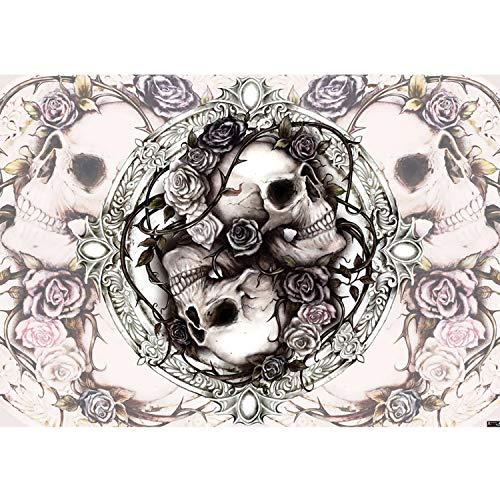 Vlies Fototapete PREMIUM PLUS Wand Foto Tapete Wand Bild Vliestapete - Totenkopf Illustration Vintage Schädel Rosen - no. 2718, Größe:312x219cm Vlies