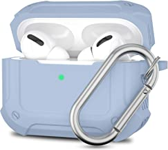 ATUAT AirPods Pro Case Designed for AirPods Pro, Full-Body Protective Cover, Bumper Absorbs Shock, Anti-Fall, Anti-Scratch, Durable Silicone Case with Metal Carabiner - Denim Blue