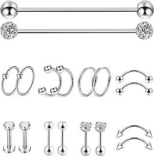 18Pcs Stainless Steel Industrial Barbell Cartilage Stud Earrings for Women Men Nose Septum Piercing Rings Tragus Ear Eyebrow Body Piercing Jewelry