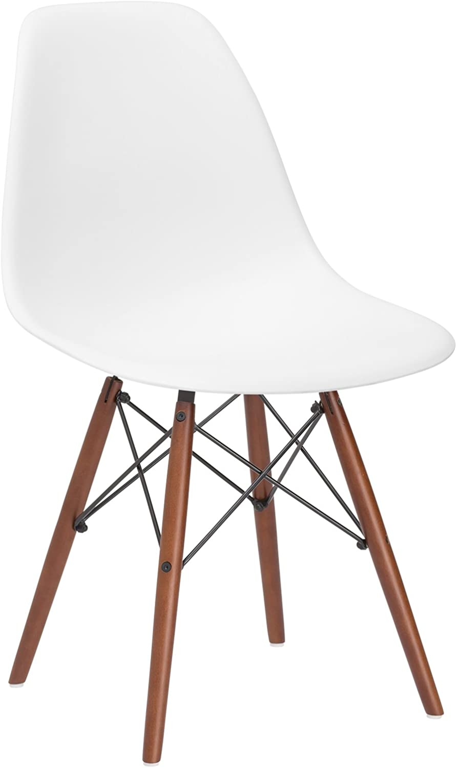 Poly and Bark Vortex Side Chair Walnut Legs, White